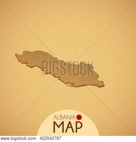 Country Albania Map Old Style Geography Vector Illustrator