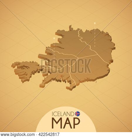 Country Iceland Map Old Style Geography Vector Illustrator