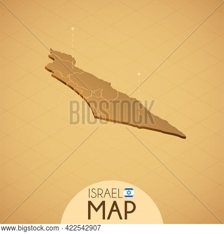 Country Israel Map Old Style Geography Vector Illustrator
