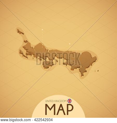 Country Britain Map Old Style Geography Vector Illustrator