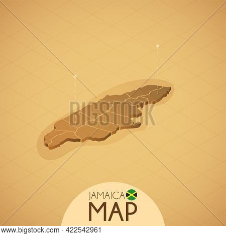 Country Jamaica Map Old Style Geography Vector Illustrator