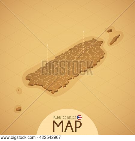 Country Puerto Rico Map Old Style Geography Vector Illustrator