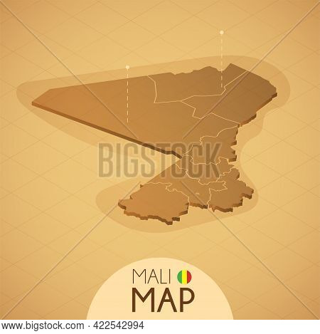 Country Mali Map Old Style Geography Vector Illustrator