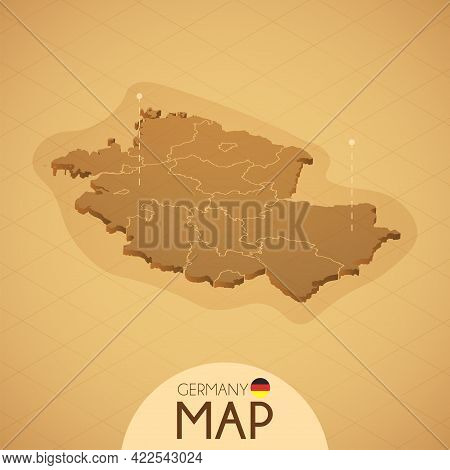 Country Germany Map Old Style Geography Vector Illustrator
