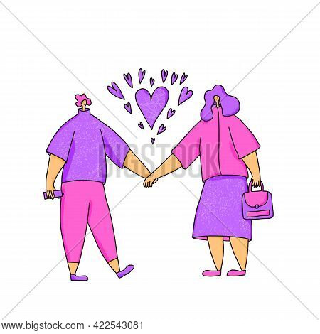Dating Concept. Couple Of Young People Holding Hands Each Other. Romantic Relationship Event. Valent