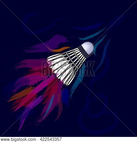 Colored Air Flows From Movement Shuttlecock On A Dark Background