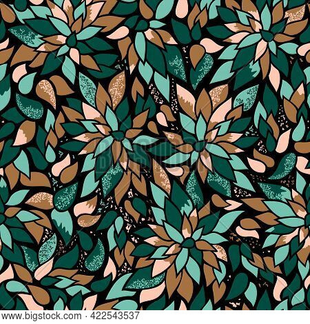 Inspired By Nature Leafy Surface Pattern. The Colors Of Clustered Foliage, Mint, Rose, Bronze, Green
