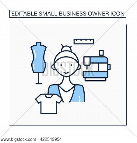 Tailoring Line Icon. Woman Make Designs, Cut It, Fit, And Finish Clothes. Garments Made To Measure F
