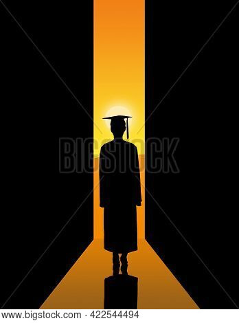 A College Or High School Graduate Prepares To Step Out The Door To Join The Workforce In The Real Wo