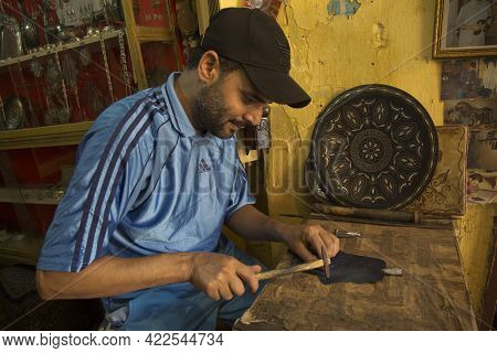 Meknes, Morocco. 22 September 2017. Production Of Souvenirs From Metal In Meknes, Morocco.