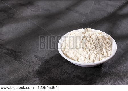Fortified Wheat Flour In The Bowl - Text Space