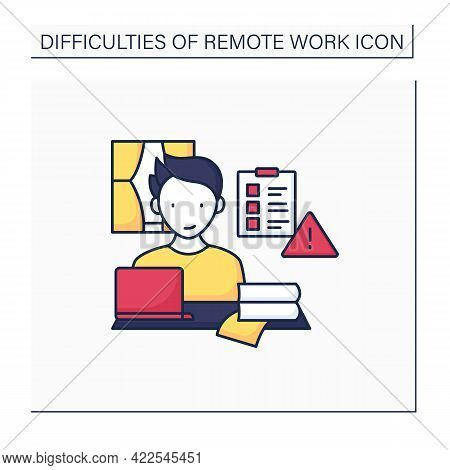 Remote Work Color Icon. Prioritizing Work. Important Tasks List. Focused. Career Difficulties Concep