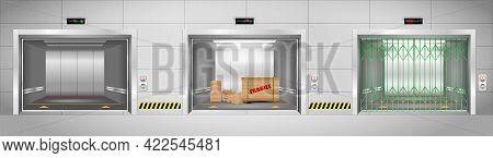 Set Of Industrial Elevators Or Realistic Elevators With Chrome Metal Door Or Three Iron Elevator In