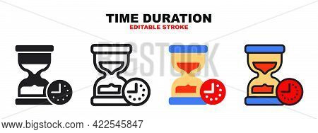 Time Duration Icon Set With Different Styles. Colored Vector Icons Designed In Filled, Outline, Flat