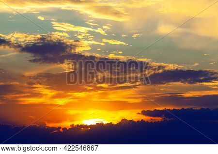 Dreamlike Heaven With Spectacular Twilight . Sky With Colorful Clouds In The Evening