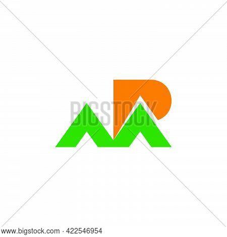 Letter Mp M Mountain Sun Nature Design Logo Vector