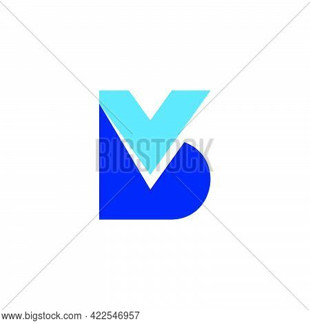 Letter Vb Simple Geometric Colorful Logo Vector