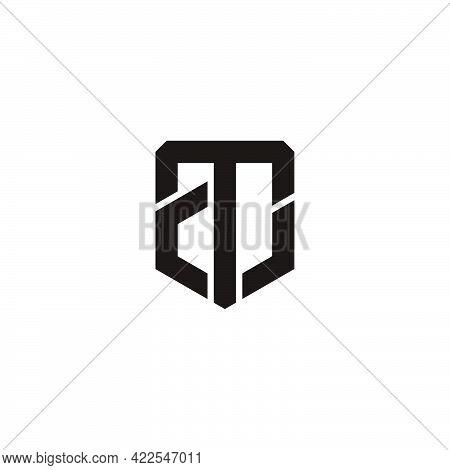 Letter At Emblem Geometric Line Logo Vector