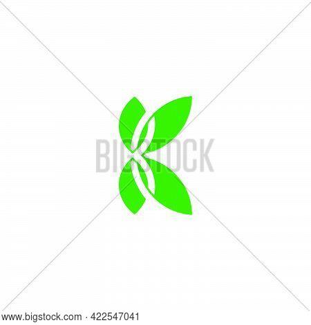 Letter K Green Leaf Nature Symbol Overlapping Geometric Logo Vector