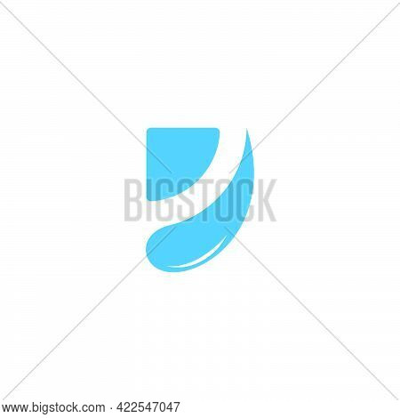 Letter D Abstract Drop Water Splash Symbol Logo Vector
