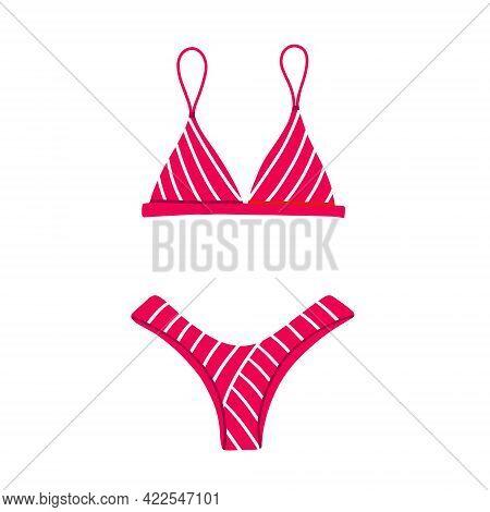 Pink Two-piece Swimsuit With A Striped Print. Modern Fashion Stylish Bikini Swimsuit. Vector Flat Ca