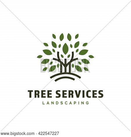Tree Lawnmower Landscaping And Gardening Service Logo With Line Style Minimalist Tree Icon Graphic