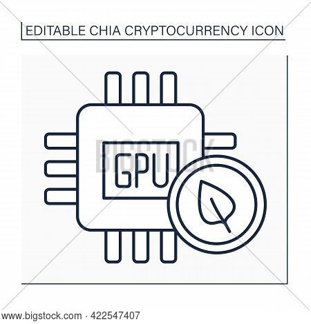 Gpu Line Icon. Graphics Processing Unit. Electronic Circuit Added Alter Memory. Manipulating Compute
