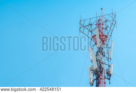 Telecommunication Tower. Antenna On Blue Sky. Radio And Satellite Pole. Communication Technology. Te