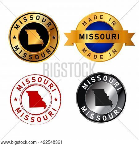 Missouri Badges Gold Stamp Rubber Band Circle With Map Shape Of Country States America