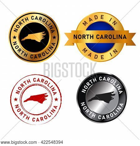 North Carolina Badges Gold Stamp Rubber Band Circle With Map Shape Of Country States America