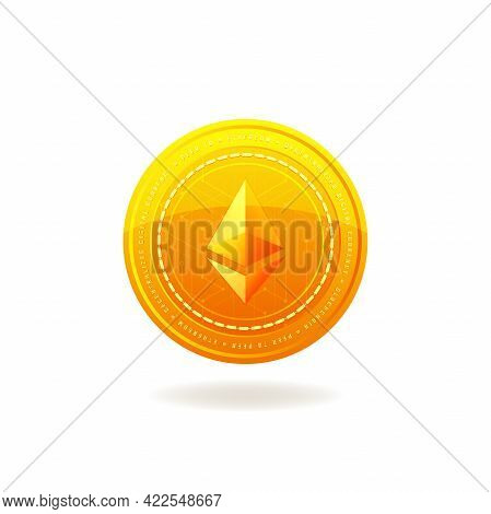 Golden Ethereum Coin. Crypto Currency Blockchain Coin. Ethereum Symbol Isolated On White Background.