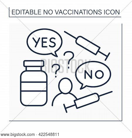 Doubt Line Icon. Doubts About Vaccination Against Covid19. Thinking About Vaccine True Influence.no