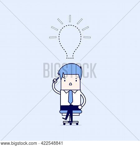 Businessman Lost His Idea With Empty Light Bulb. Cartoon Character Thin Line Style Vector.