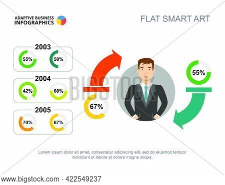 Business Results Timeline Slide Template For Presentation. Abstract Elements Of Chart, Diagram, Grap