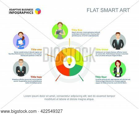 Five People Process Chart Template For Presentation. Business Data Visualization. Strategy, Workflow
