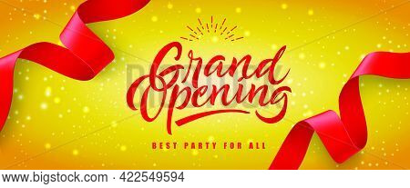 Grand Opening, Best Party For All Festive Banner Design With Red Streamer On Yellow Glittering Backg