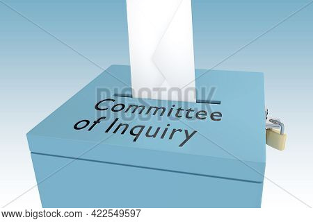3d Illustration Of Committee Of Inquiry Title On Ballot Box, Isolated Over Blue Gradient.