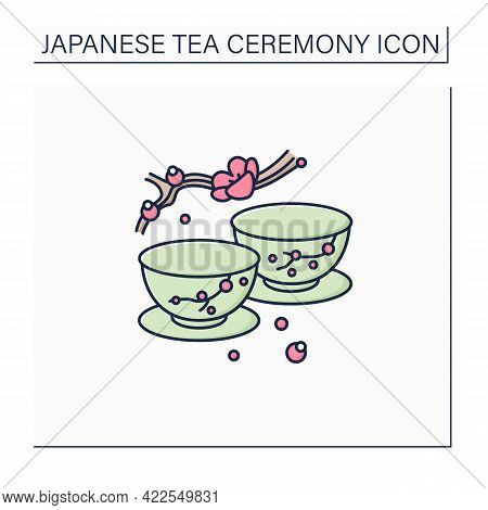Japanese Tea Cups Color Icon. Ceremony Two Teacups With Sakura Pictures. Unique Handmade Ware. Tea R