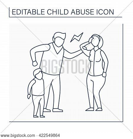 Emotional Abuse Line Icon. Exposing Child To Violence Against Others. Serious Emotional Harm. Child