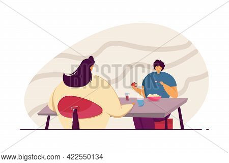 Mother And Son Having Breakfast Together. Boy Eating Apple And Porridge, Woman Drinking Coffee Flat