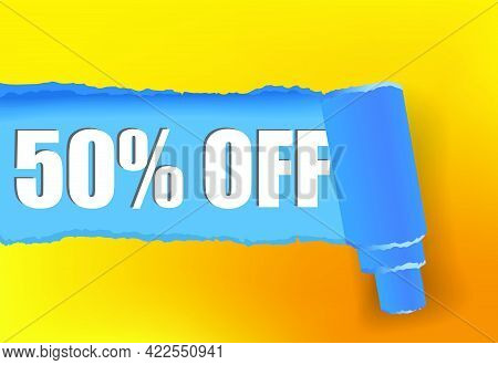 Fifty Percent Off Promotion Banner Design In Yellow And Blue Colors. Text Can Be Used For Signs, Lab