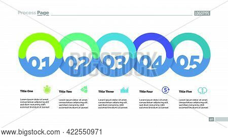 Five Circle Flowchart With Description Slide Template. Business Data. Graph, Diagram, Design. Creati