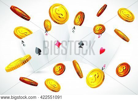 Four Aces And Flying Golden Coins. Casino Business Advertising Design. For Posters, Banners, Leaflet