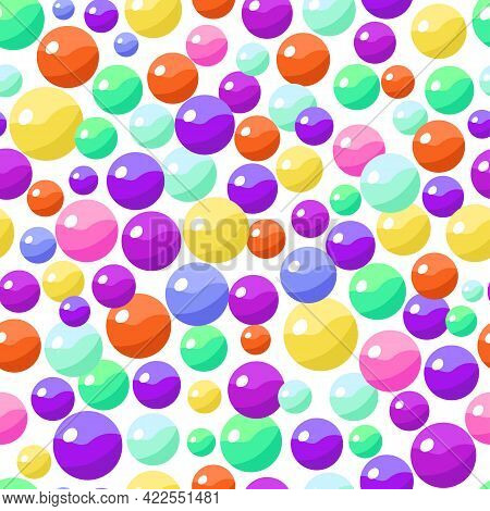 Seamless Pattern With Colorful Bonbons Candy Balls. Vector Illustration.