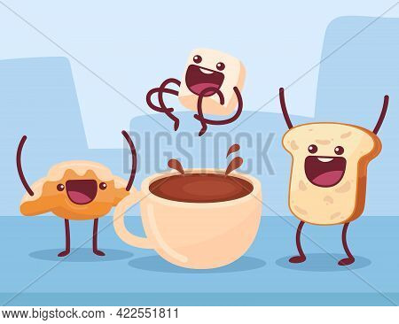 Pastry Having Fun Cartoon Illustration. Croissant And Toast Cheering Up Marshmallow Jumping To Cup O