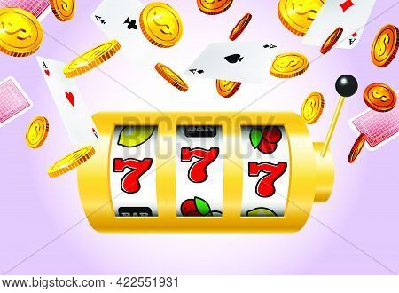 Slot Machine, Flying Golden Coins And Aces On Purple Background. Casino Business Advertising Design.