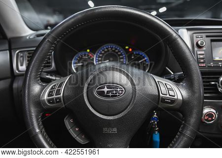 Novosibirsk, Russia - May 29, 2021: Subaru Forester, Cockpit Interior Cabin Details, Speedometer And