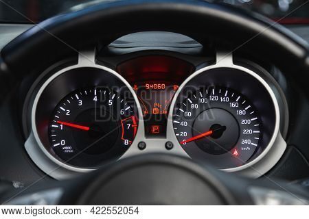Novosibirsk, Russia - May 29, 2021: Nissan Juke, Close Up Instrument Automobile Panel With Odometer,