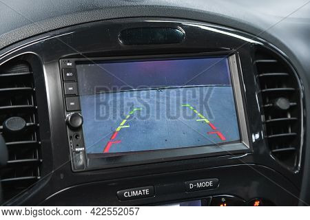 Novosibirsk, Russia - May 29, 2021: Nissan Juke, Reverse Camera With Monitor,buttons - Details And C