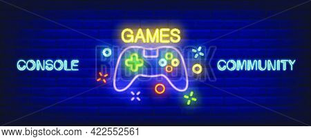 Console Community Neon Style Banner. Gamepad On Brick Background. Videogame, Game Club, Leisure. Can